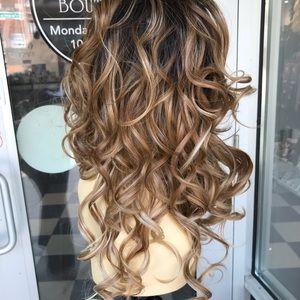 Accessories - Ombré dark root Warm Brown Blonde Wig Romance Curl